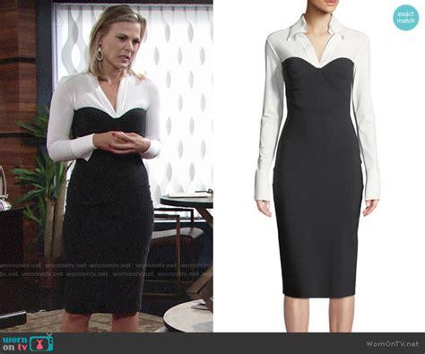 wornontv phylliss black  white long sleeved dress