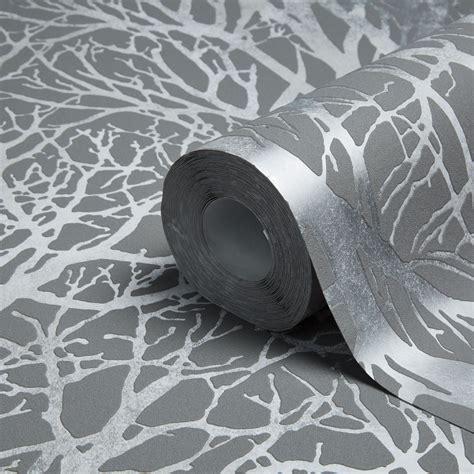 Living Room Doors At B Q by Tree Print Grey Silver Metallic Wallpaper