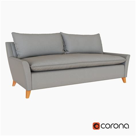 west elm bliss down filled sofa 3d model cgstudio