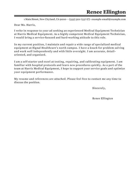 outstanding medical equipment technician cover letter
