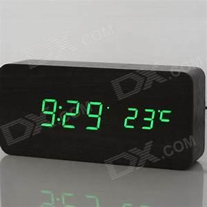 Cool Wooden Desk Alarm Clock w/ Temperature Display ...