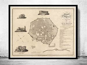Old Map Of Athens Greece 1826 Vintage Map