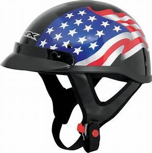 Afx Fx 70 American Flag Beanie Motorcycle Half Helmet Black