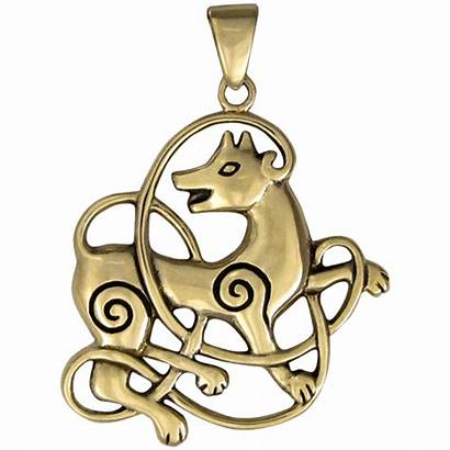 Wolf Celtic Knot Pendant Bronze Jewelry Knotwork
