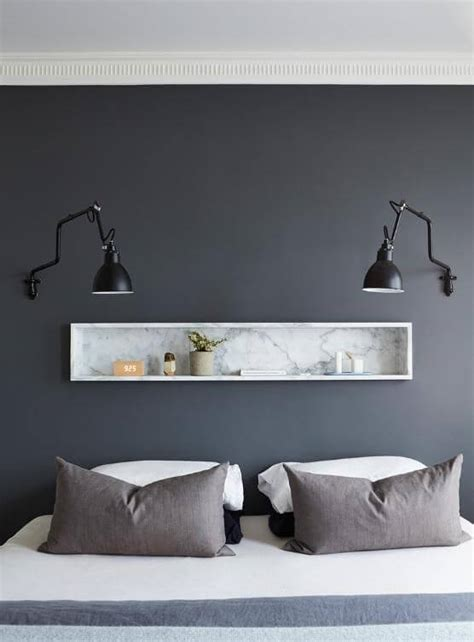 a recessed bedroom shelf