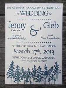 letterpress wedding invitations redwoods trees With redwood tree wedding invitations