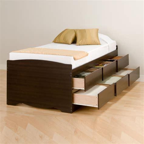 prepac twin  drawer tall platform storage bed  oj