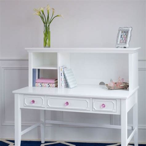 white desk with hutch and drawers white desk with hutch and detailed drawer fronts pink