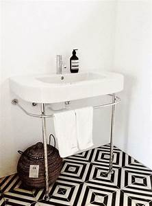 picture of patterned black and white bathroom tiles With white and black tile bathroom