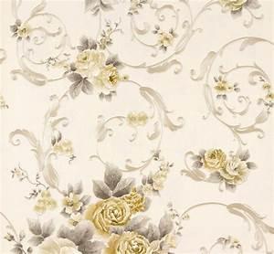 wallpaper romantica flower white gold as 30647 4 With balkon teppich mit non woven tapeten
