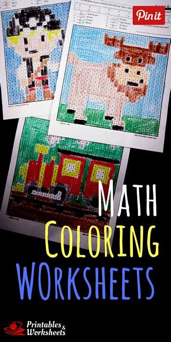 fun math coloring worksheets mystery pictures color
