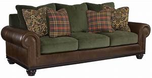 Bernard sofa leather fabric combo for Sectional sofa with leather and fabric