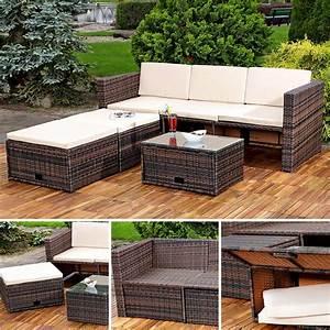 Polyrattan Sitzgruppe Braun : gartenm bel set sitzhocker tisch couch sitzgruppe ~ Watch28wear.com Haus und Dekorationen