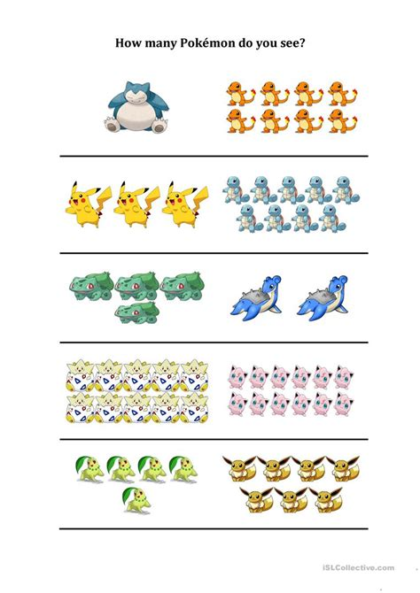 How Many Pokemon Do You See Worksheet  Free Esl Printable Worksheets Made By Teachers