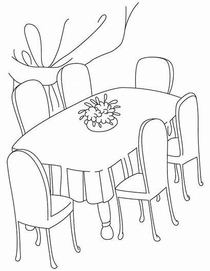 Coloring Table Dining Clipart Pages Dinner Drawing