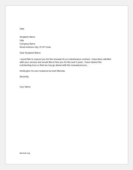 renew contract letter sample