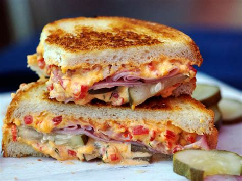 sandwiched grilled pimento cheese ham  homemade