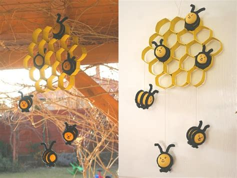 wonderful diy cute bee hive decoration  paper rolls