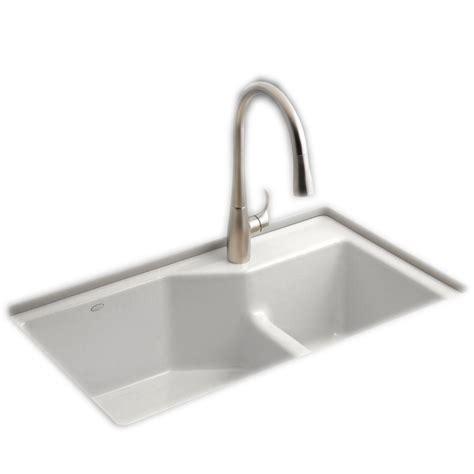 33 undermount kitchen sink kohler hartland undermount cast iron 33 in 5 hole double