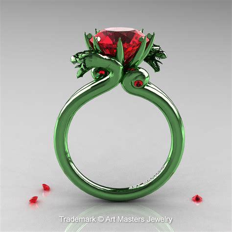 art masters  green gold  ct rubies military dragon