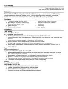 resume for restaurant restaurant bar resume exles restaurant bar sle resumes livecareer