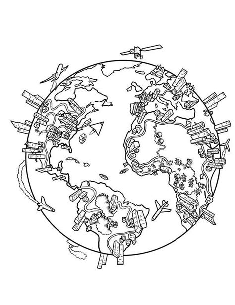 earth population globe  world map coloring page prek