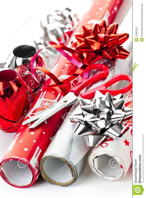 christmas wrapping paper rolls royalty  stock photo