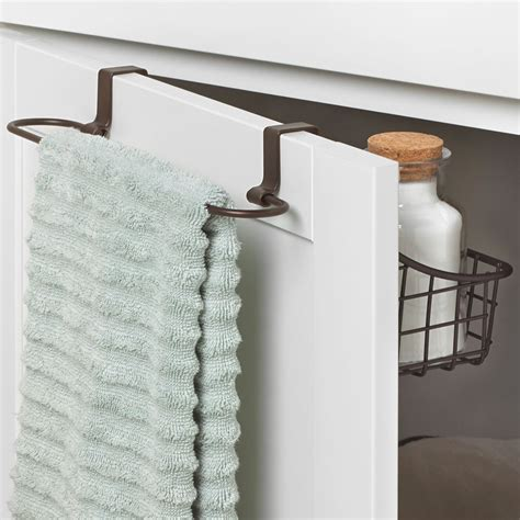 bathroom cabinet with towel rack over cabinet door basket with towel bar in cabinet door
