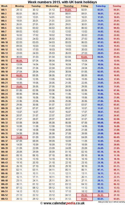 week numbers bank holidays excelpdfword templates
