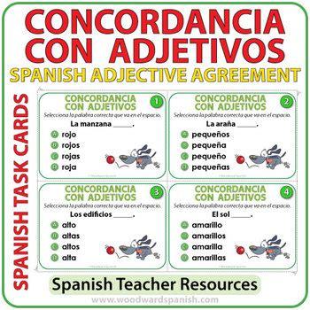 spanish adjective agreement task cards  woodward