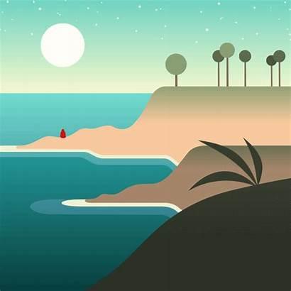 Landscape Series Animated Beach Vector California Laguna