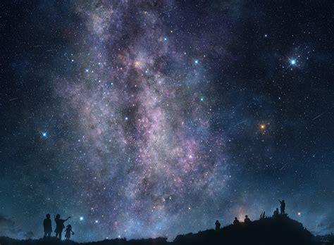 Fond Décran Gens Montagnes Nuit Galaxie Ciel