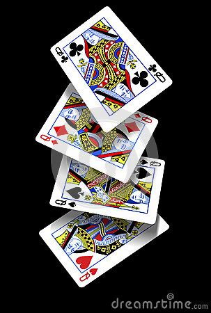 playing cards falling queens royalty  stock