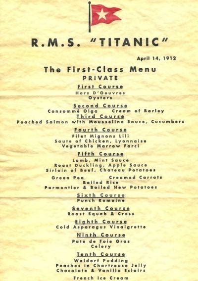 cuisine joseph the food menu aboard the titanic shows us what class
