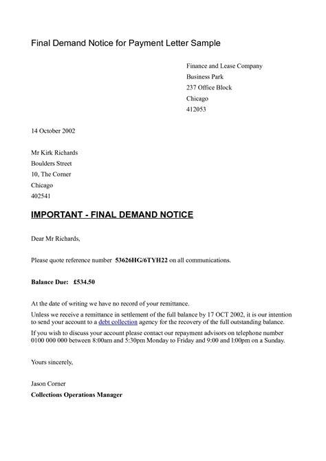 demand notice template final payment