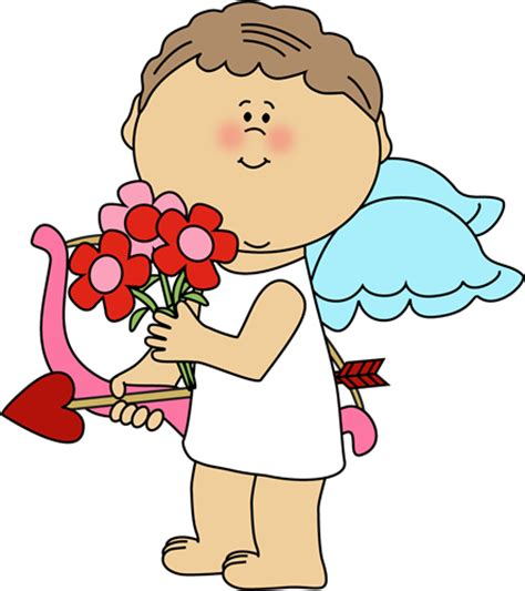 Cupid Clipart S Day Cupid With Flowers Clip S
