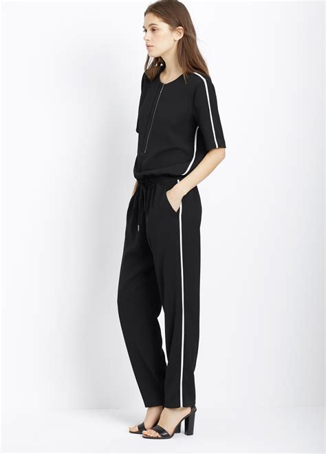 vince jumpsuit vince contrast trim sleeve jumpsuit in black black