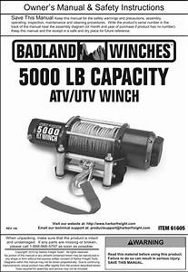 Manual For The 61605 5000 Lb  Atv  Utility Electric Winch
