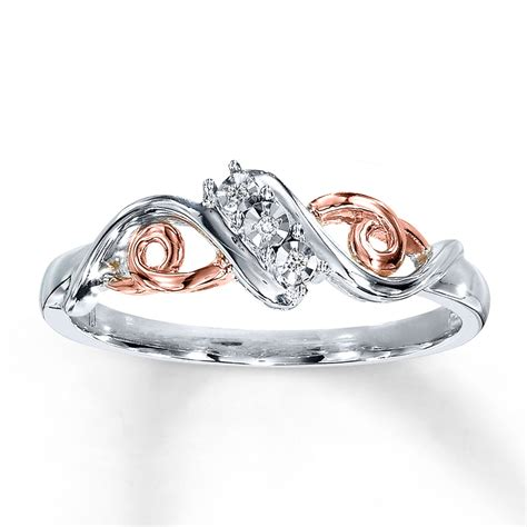 diamond ring 10k rose gold sterling silver 22885901