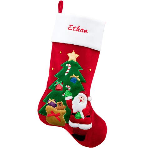 Personalized Santa With Tree Velvet Stocking   Bronner's