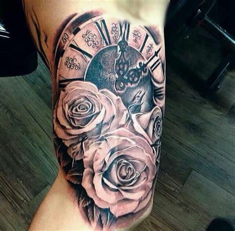 clock  rose tattoo  love inked pinterest  love clock  love
