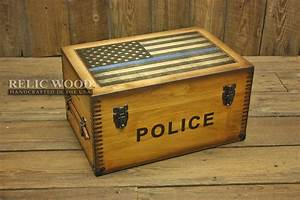 Custom Wood Boxes Relic Wood Police Thin Blue Line