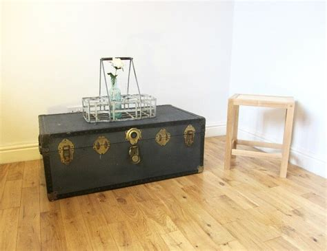 Southern enterprises amherst trunk coffee table. Vintage Metal-bound Steamer Trunk / Coffee Table / Storage Chest | in Limehouse, London | Gumtree