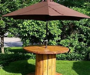 Tisch Aus Kabeltrommel : gartentisch aus holz bauen der gleichzeitig als st nder f r den sonnenschirm dient jan 2016 ~ Orissabook.com Haus und Dekorationen