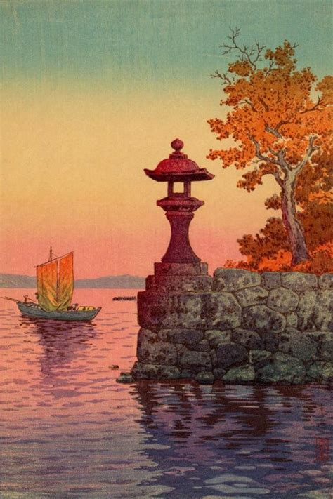 japanese art print returning sailboat  yabase