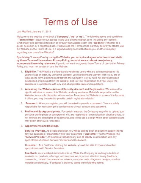 Terms Of Use Visibook Aap