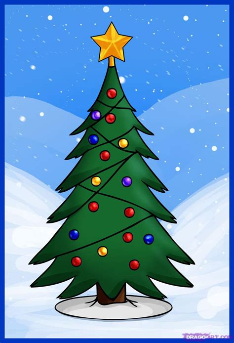 drawing christmas tree new calendar template site