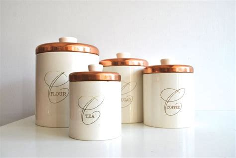 copper canisters kitchen nesting kitchen canisters white and copper by ransburg