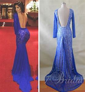 Royal Blue Long Sleeve Lace Mermaid Backless Prom Dresses ...
