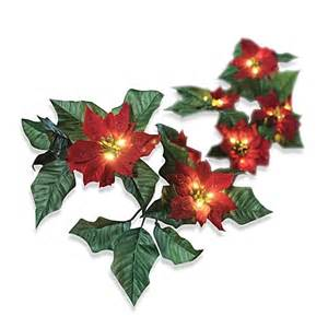 6 foot battery operated wrapped lighted red poinsettia garland bed bath beyond